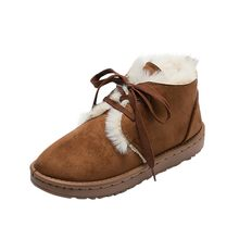 Women's warm boots 3 colors Women Fashion Round Toe Suede short Snow Booties Lace Up winter Warm Over Edge Short-Plush shoes(China)