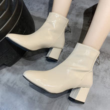 Women Ankle Boots for Women Winter Booties Square Toe Solid Boots Casual Outdoor Square root heels Shoes Punk Boots botas mujer(China)