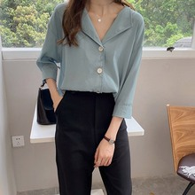 Women Summer Simple Shirt V-Neck Loose Chiffon Blouse Button Up Female
