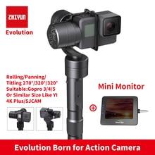 Zhiyun Z1 EVOLUTION 3-осевой и портативный монопод с шарнирным замком с бесщеточным двигателем 320 градусов перемещение ручной шарнирный стабилизатор для камеры GoPro для GoPro sjcam YI экшн-камер