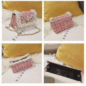 Image 5 - Корейский стиль, женские шерстяные сумки через плечо, милые кошельки и сумочки принцессы для девочек, детский клатч с жемчугом