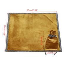 Nappe de Tarot doré en velours, avec sac à cartes, Divination Wicca, autel, nouveauté 2021