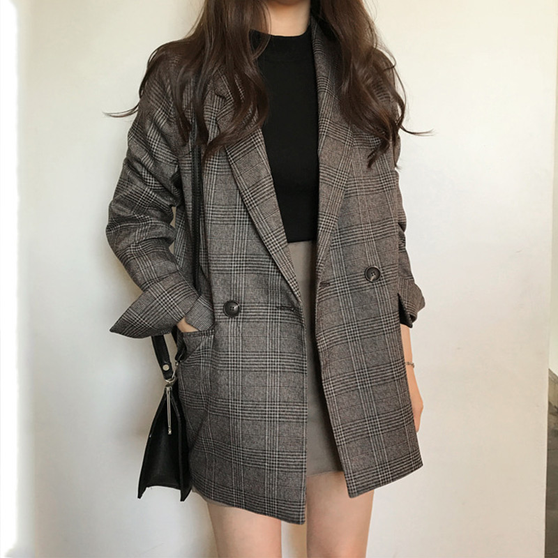 Women's Plaid Notched Vintage Work Blazers Autumn Long Sleeve Casual Female Blazer 2019 Spring Office Lady Elegant Tops Female