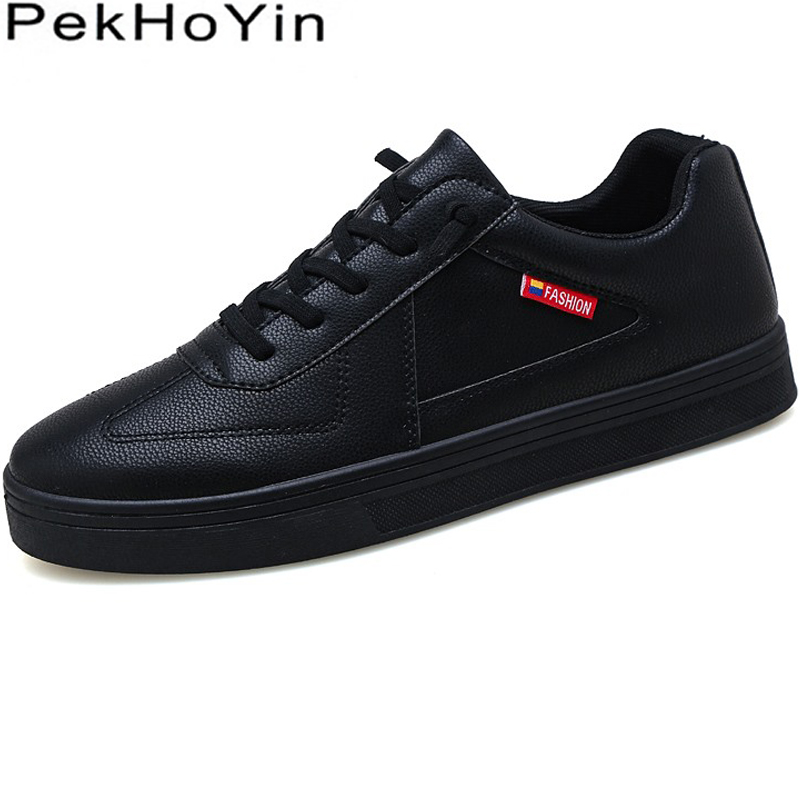 New Fashion Sneakers Leather Men Casual Shoes Footwear Male Flats Shoes Zapatillas Hombre Outdoor Black Mens Leather Designer