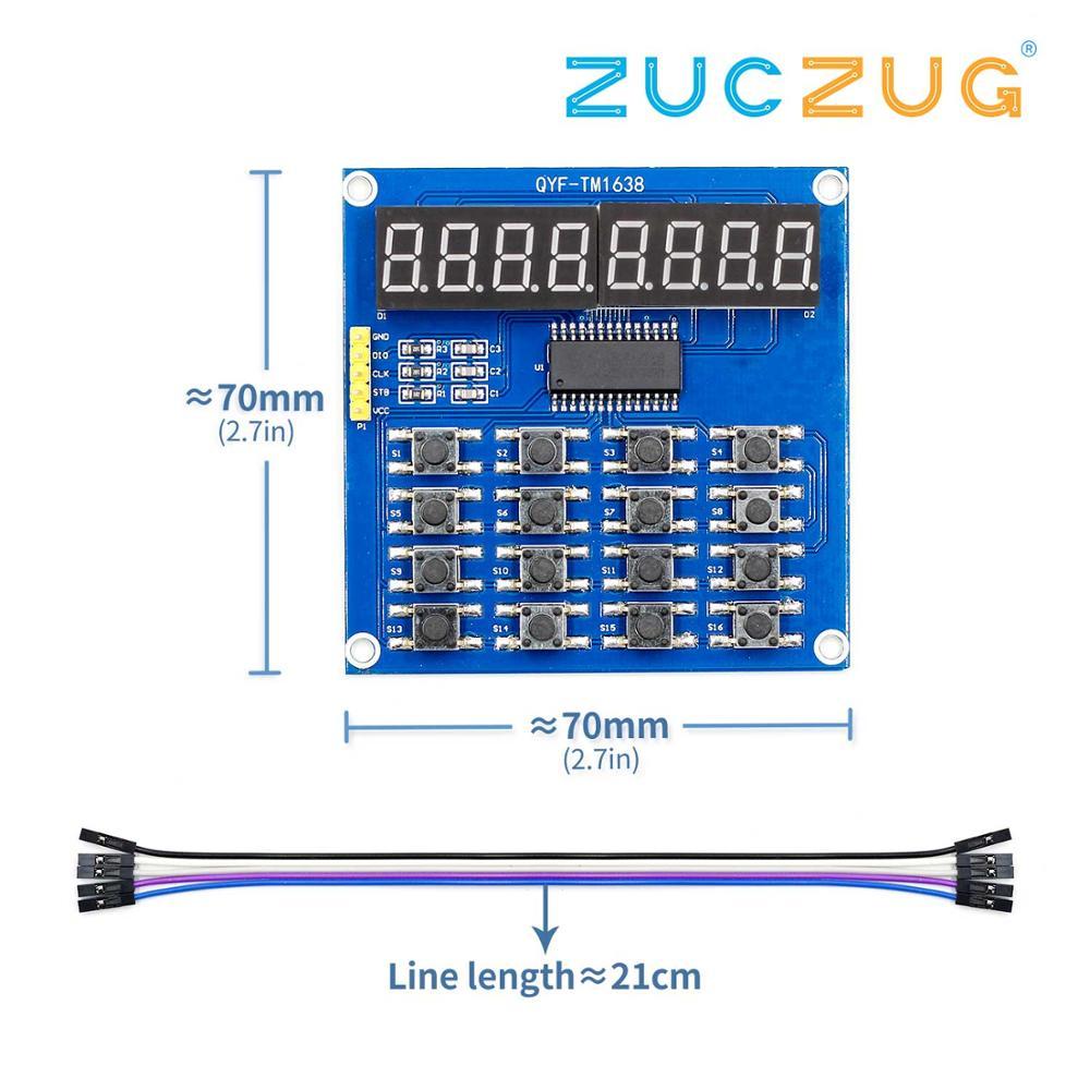 TM1638 Digital LED Display 8-Bit Digital Tube Board 3-Wire 16 Keys 8 Bits Keyboard Scan And KEY LED Module For Arduino