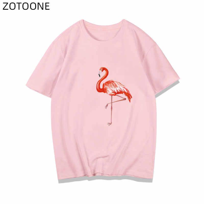 ZOTOONE Flamingo Herz Patch für Kleidung Eisen auf Blume Aufkleber für Paare Kinder Thermo Transfers Tier Patches für T-shirt D