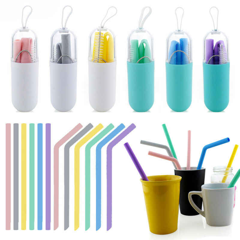 Portable Foldable Silicone Reusable Drinking Travel Straws with Cleaning Brush