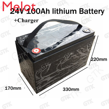 free customs taxes rechargeable lithium battery 24v 100ah lithium ion battery 24v 100ah 1000w li ion battery pack charger bms Waterproof 24V 100AH Lithium ion Battery Electric bicycle 24V Solar Golf Car lipo Battery for Forklift fork + 29.4v 10A Charger