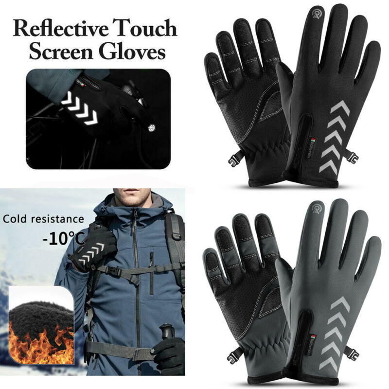 Herren Winter Sport Lauf Reflektierende Handschuhe <font><b>Outdoor</b></font> Reise Touch-screen Anti-slip Zipper Warmen Reit Handschuhe image