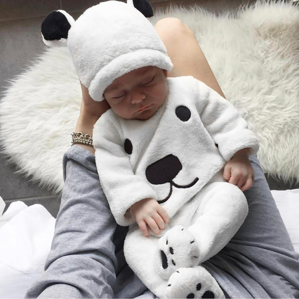 Newborn Clothes Baby Girl Clothes Baby Boy Clothes 3Pcs Winter Cartoon Tops Pants Outfits Fluffy Warm Clothes Roupa Infantil Z4