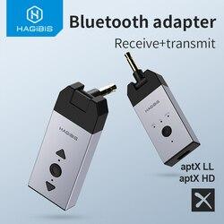 Hagibis Bluetooth 5.0 Audio Receiver Transmitter aptX LL aptX HD 3.5mm Jack Aux Wireless Adapter for Car PC Headphone TV Speaker
