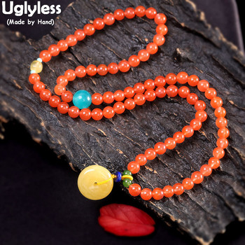 Uglyless Dual-use Multi-layer Beading Gemstones Bracelets for Women Agate Bracelets Elastic Natural Amber Beeswax Luxury Jewelry