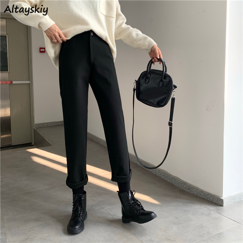 Pants Women Autumn Winter Vintage Thicker Casual Students High Waist Slim Womens Trousers Korean Fashion Top Quality Button Soft