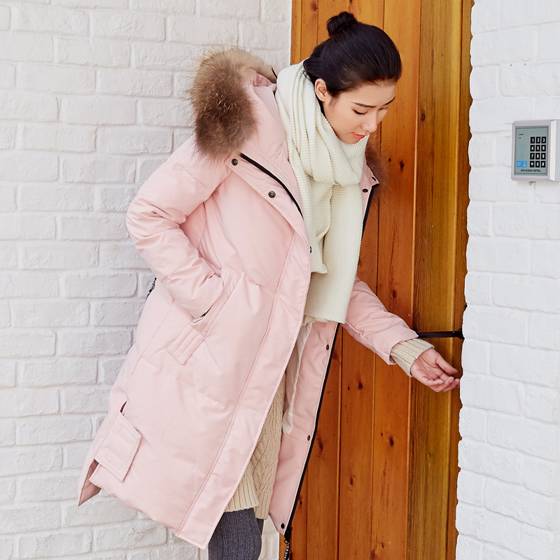 Winter 90% White Duck Down Jacket Women Down Coat Female Real Fur Hooded Parka Long Thick Warm Pink Snow Outwear LWL1166