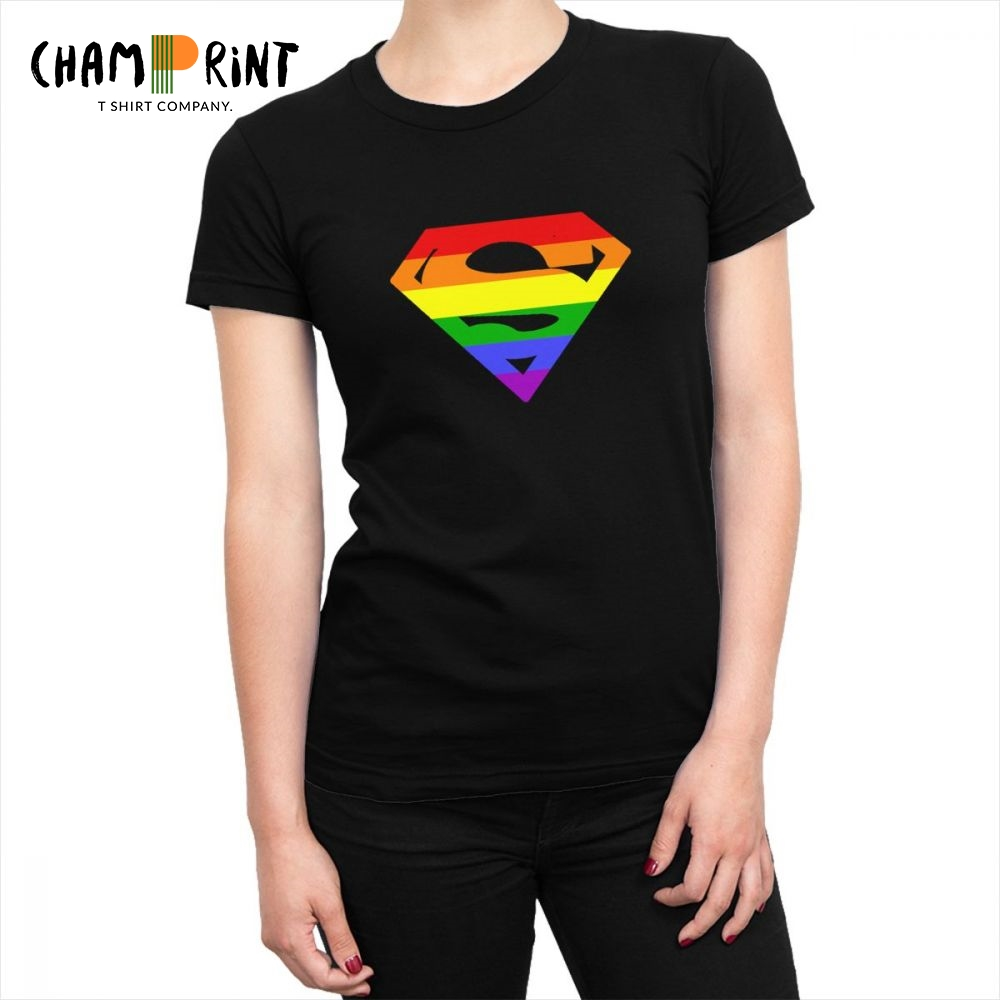 Women's LGBT Superman Logo <font><b>T</b></font>-<font><b>shirt</b></font> Pride <font><b>Bisexual</b></font> Lesbian Gay Rainbow Harajuku <font><b>T</b></font> <font><b>Shirts</b></font> Chic Tops Tees Hip Hop Female Clothing image