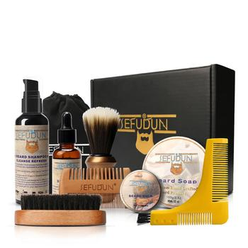 10pcs/set Men Beard Kit Grooming Beard Set Beard Oil Moisturizing Wax Blam Comb Essence Styling Brush Hair Men Beard Set 1