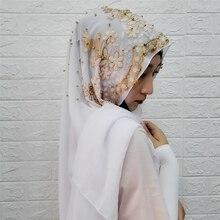 Rhinestone hijab scarf muslim wedding scarves headscarf islamic chiffon femme musulman