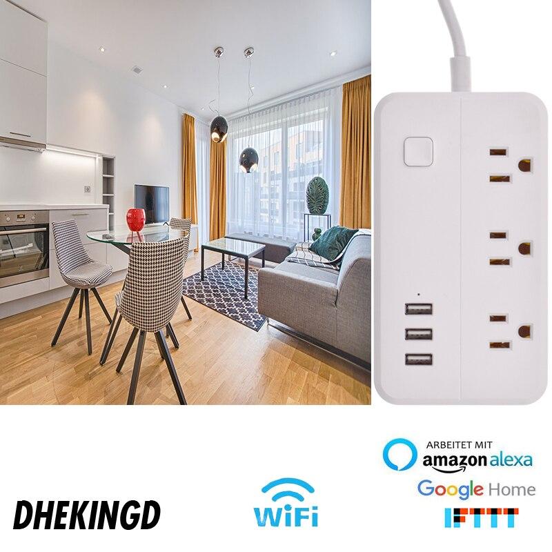 Tira de energia wifi 3usb inteligente eua plug interruptor sobrecarga protetor contra surtos 3 portas usb carregador google casa alexa 1.25m 10a wifi soquete - 5
