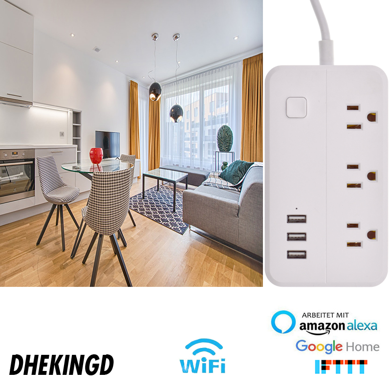 Сетевой адаптер wifi 3USB smart US plug, переключатель перегрузки, защита от перенапряжения, 3 порта, USB зарядное устройство, Google Home Alexa, 1,25 м, 10 А, Wi Fi разъем - 5