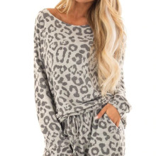 New women loose 2-piece tracksuit long sleeve leopard pants, leisure clothing sets