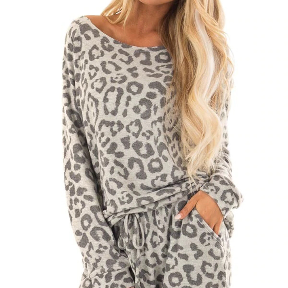 New Women Loose 2-piece Tracksuit Long Sleeve Leopard Pants, Leisure Clothing Sets, Leisure Clothing, Pajama Set
