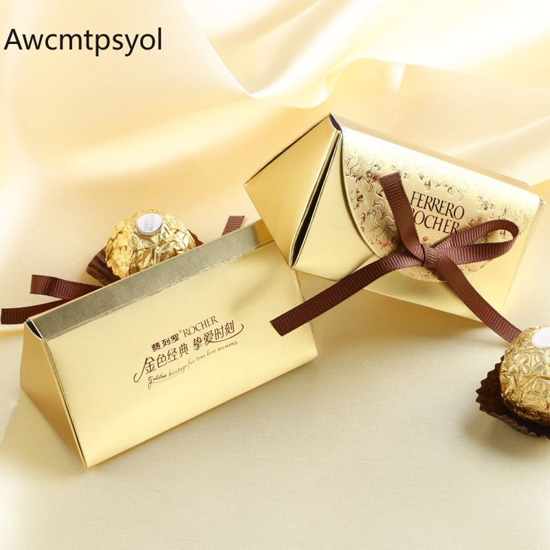 Gold Paper Ferrero Rocher Candy Box Wedding Favor And Gift Boxes Christmas Candy Bag For Wedding Decoration Party Supplies
