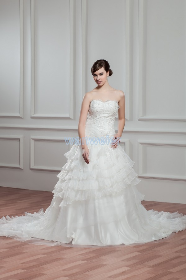 Free Shipping 20136 New Hot Sale Appliques White With Zip Back Bridal Gown Custom Size/color Small Train Plus Size Wedding Dress