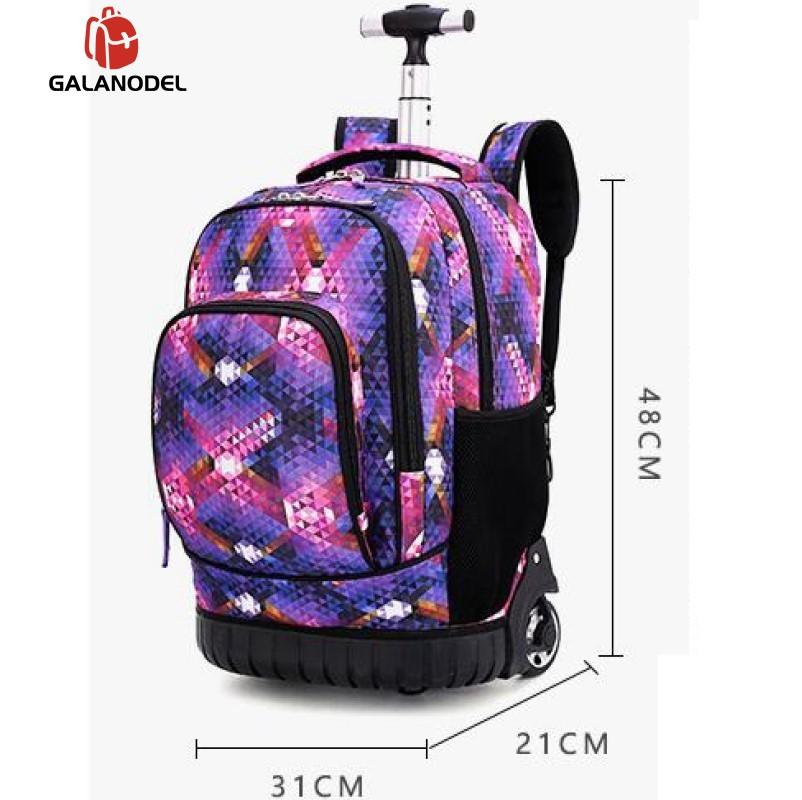 18 pouces sac à dos roulant voyage école sacs à dos sur roue chariot cartable pour adolescents garçons enfants sac d'école avec roues - 2
