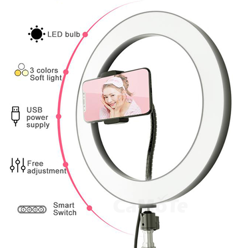 led beads camera phone stand 160cm 210cm Beauty  Makeup Ring Light Selfie lamp light for smartphone Live Streaming tripod 8-10inc