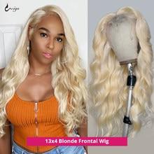 613 perruque frontale brésilienne droite dentelle avant perruques de cheveux humains pour les femmes miel Blonde vague de corps 30 pouces Hd Transparent dentelle perruques