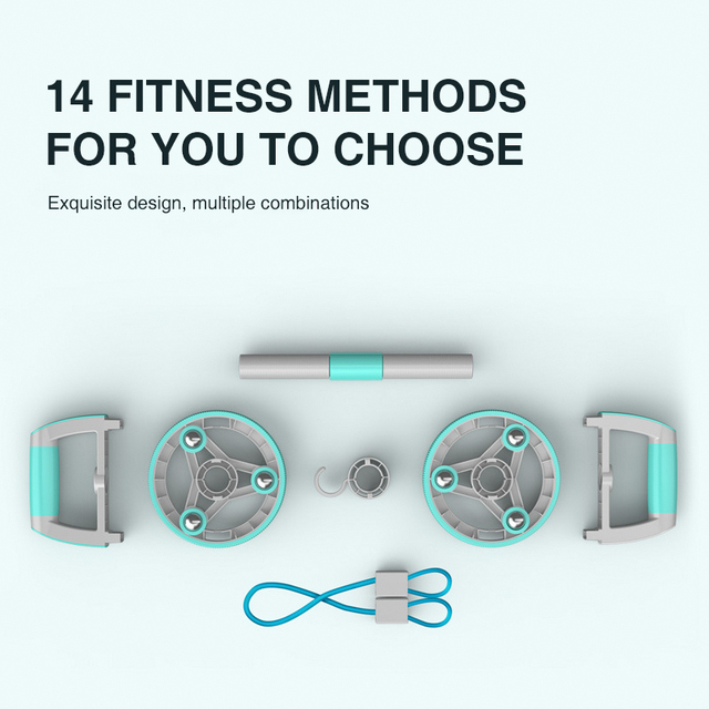 14 In 1 Two-wheeled AB Roller Abdominal Wheel Massage Roller Muscle Trainer Exercise Portable Home Gym Workout Fitness Equipment 5