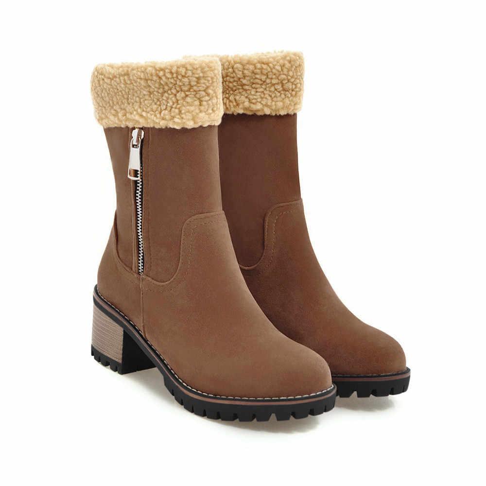 ฤดูหนาวรองเท้าอุ่นลื่น Martins รองเท้าบูทผ้าฝ้าย Flock bootie หญิง bottes femme สั้น Booties bottines a40