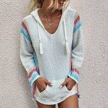 Карманы вязаный свитер с капюшоном для женщин 2020 модные Цвет