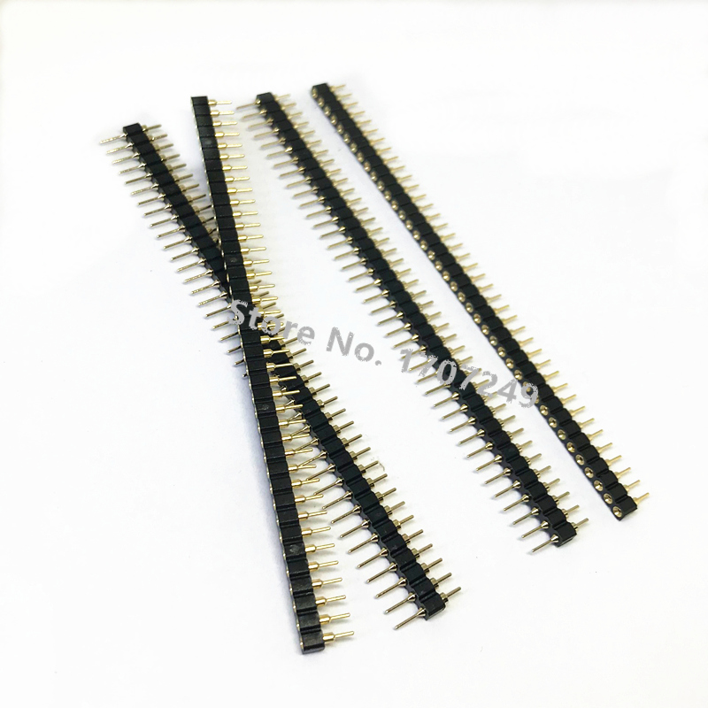 50Pcs Gold Plated 2mm Pitch Male 40 Pin Single Row Round Pin Header Strip