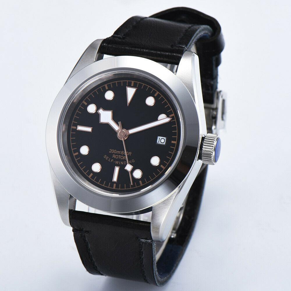 41MM Seagull / Miyota Automatic Watch Men Sapphire Crystal Black Sterile Dial Calendar Waterproof  316SS Mechanical Wristwatches