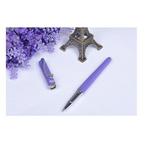 Image 5 - Germany Duke M12 Medium Refill Rollerball Pen Purple Cyan and Black Color with Heart Silver Clip Women Ballpoint Pens Stationery