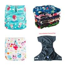 Экологичные подгузники, 5 шт. в упаковке, детские подгузники с бамбуковым углем, бамбуковые подгузники с рисунком