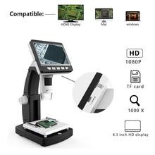 HD LCD Screen Digital Microscope USB Interface 1080P Electron Microscope(Support HDMI) digital usb microscope digital usb microscope lcd display 4 3 magnifier eu us plug v 3 6mp 1080p 720p hd drop ship 2018 new