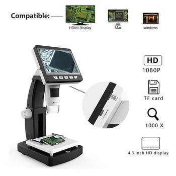 HD LCD Screen Digital Microscope USB Interface 1080P Electron Microscope(Support HDMI) 50x 500x usb digital microscope skin hair follicle scalp detector purple usb microscope support otg