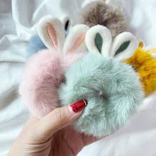 Coleteros elásticos con Orejas de conejo y pelo de imitación para niña y mujer, gomas para el pelo mullidas, accesorios para el cabello de felpa de Color caramelo