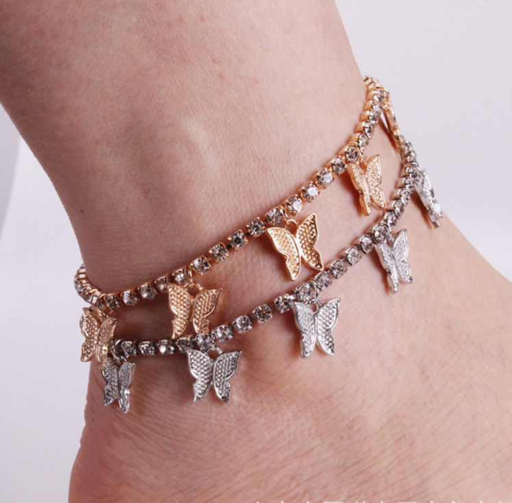 2020 Hot Women Boho Butterfly Tennis Bracelet Anklet Beach Plus Size Rhinestone Anklet Accessories Gold Pink Silver Color Anklet