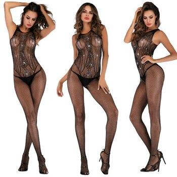 Sexy Lingerie Women Nightwear Open Crotch Fishnet Body Stocking Bodysuit Black Sexy Hollow Out Bodys