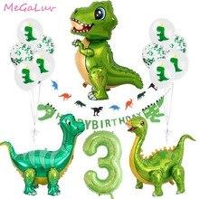 Стоячие зеленые фольгированные воздушные шары в виде динозавров, украшение для 3-го дня рождения, праздничные балетки в виде динозавров, бан...
