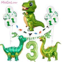 Stojący zielony dinozaur z balonów foliowych 3. Dekoracje urodzinowe dinozaur Party balony Banner zwierzę z dżungli części dostarcza Globos