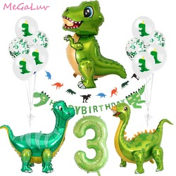 Standing Green Dinosaur Foil Balloons 3th Birthday Decoration Dinosaur Party Baloons Banner Jungle Animal Part Supplies Globos