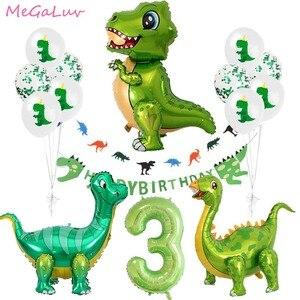 Зеленые воздушные шары в виде динозавра, 3 дня рождения, вечерние украшения в виде динозавра