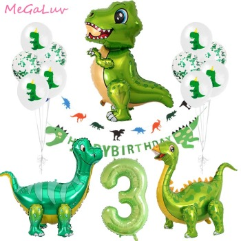Standing Green Dinosaur Foil Balloons 3th Birthday Decoration Party  Baloons Banner Jungle Animal Part Supplies Globos - discount item  35% OFF Festive & Party Supplies