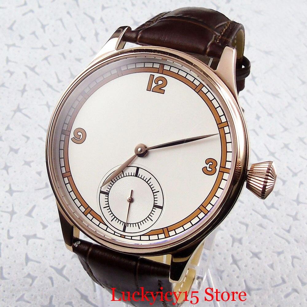 Luxo clássico vestido 44mm rosa ouro mecânico 6498 mão enrolamento relógio masculino estéril dial pulseira de couro - 2