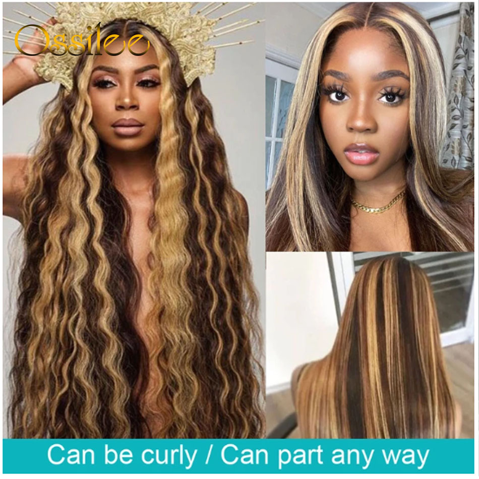 Ossilee Straight Highlight Wig 4x4 Closure Wig Piano Color 13x4 Lace Front  Wigs 4/27 Ombre  13x6 Lace Front Wig 3