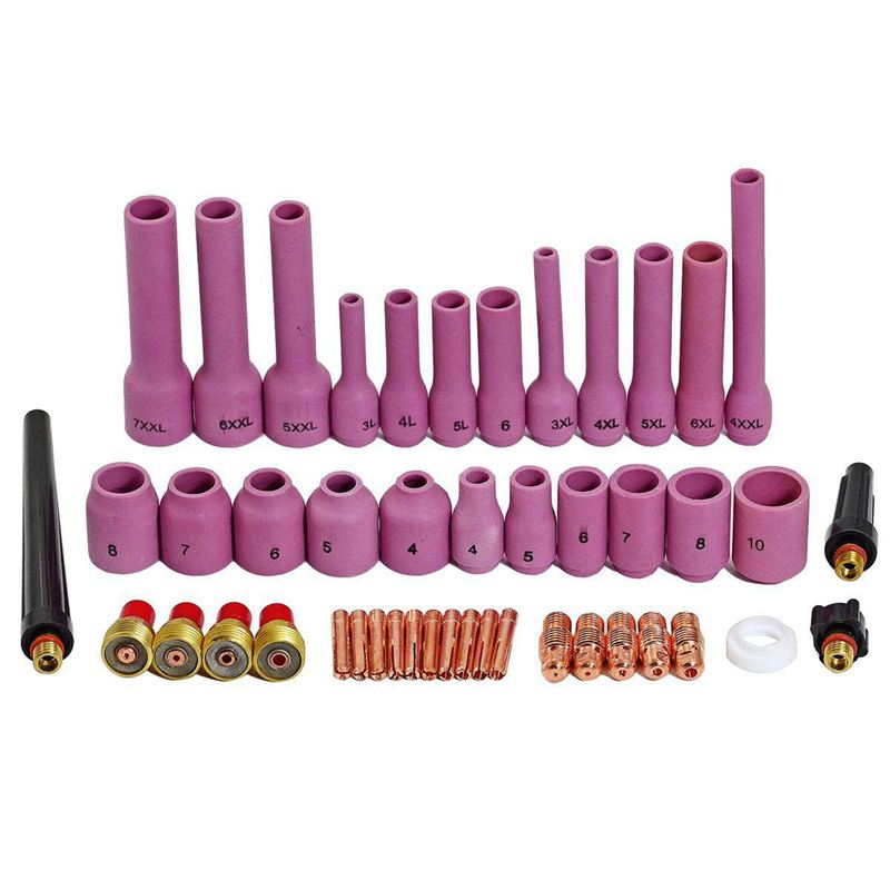 TIG Gas Objektiv Collet Assorted Größe Kit Fit SR WP 9 20 25 Wig-schweißbrenner 46 stücke